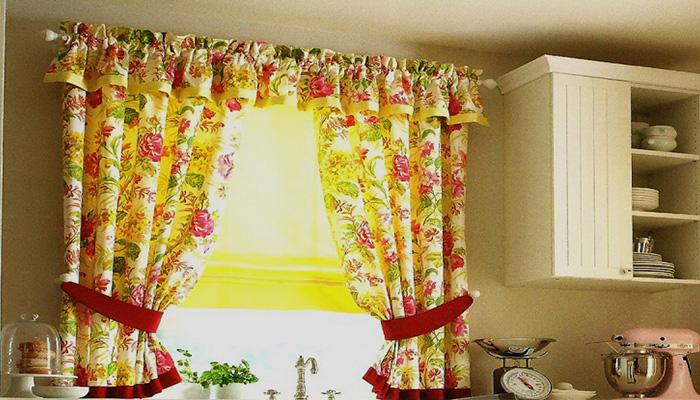 сельский стиль для штор на кухню