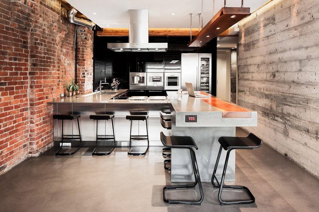 кухни в стиле лофт с кирпичом фото причините