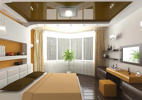 Дизайн зоны телевизора в спальне