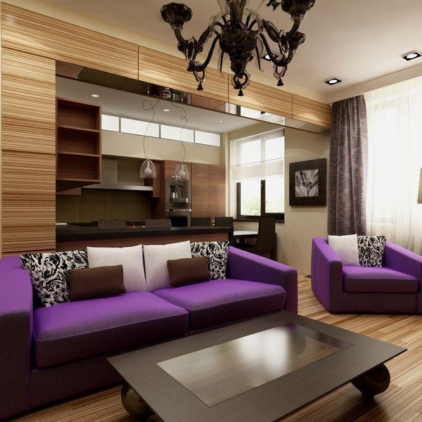Дизайн гостиной с кухней в современном стиле