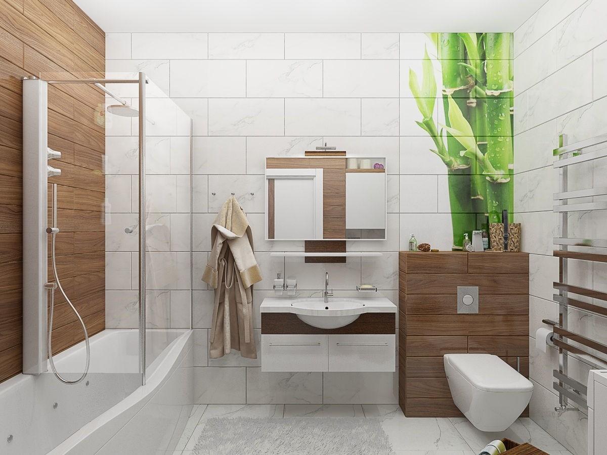 Белая ванная комната: дизайн с панно, кафелем и др 50