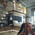 Планировка спальни в стиле лофт (26)