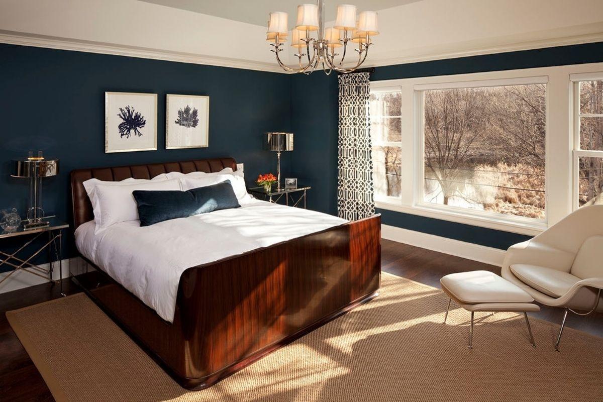 Дизайн спальни в темном цвете